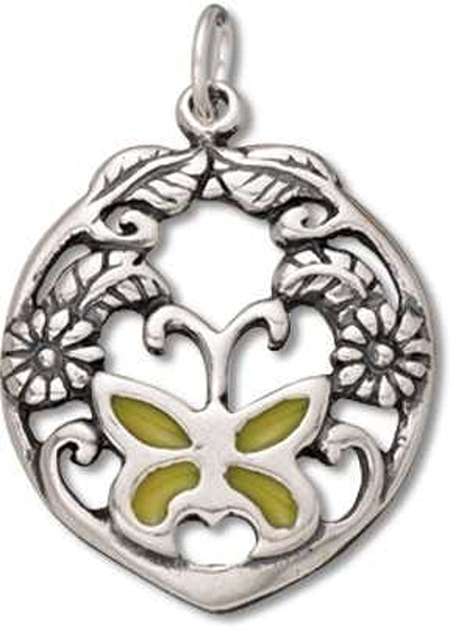 Sterling Silver Girls .8mm Yellow Butterfly Filigree Flowers Leafs Circular Pendant Necklace