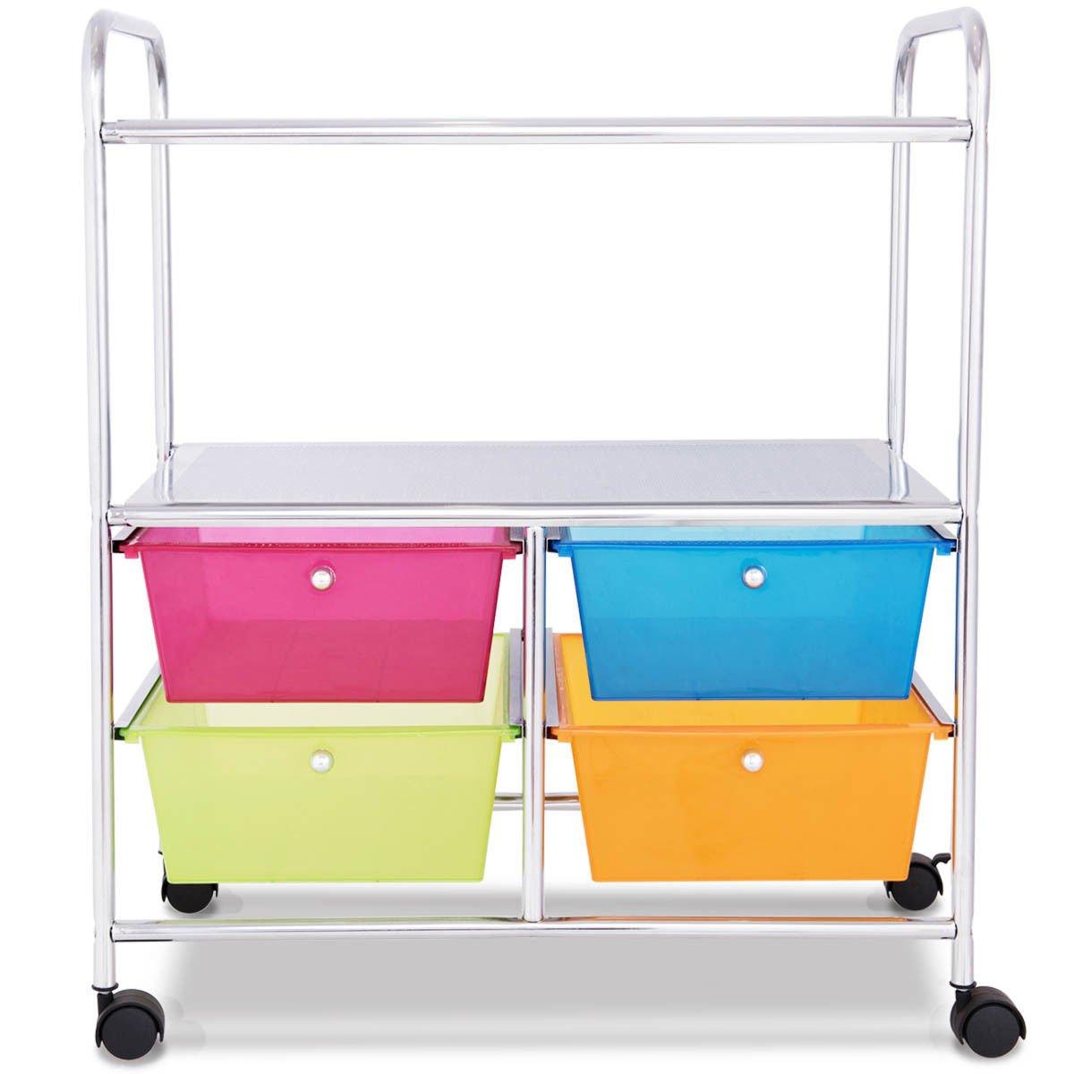 Giantex Rolling Storage Cart w/ 4 Drawers 2 Shelves Metal Rack Shelf Home Office School Beauty Salon Utility Organizer Cart with Wheels (Blue Green Orange & Red) by Giantex (Image #9)