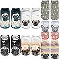 Angelteers Unisex's Pug Ankle Socks Novelty 3D Funny Dog Low Cut Boat Socks