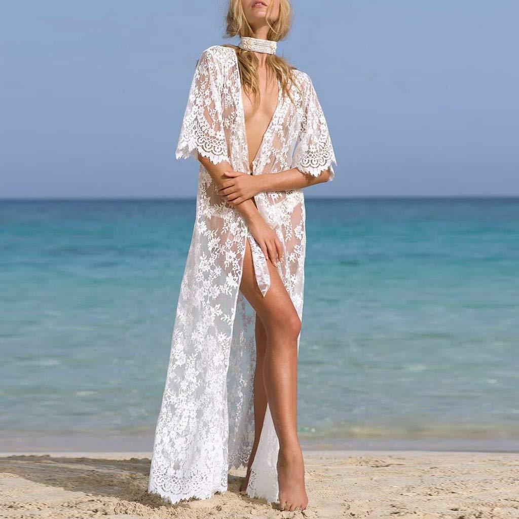 AmyGline Oberteil Damen Florale Kimono Cardigan Strand Chiffon Bluse Tops Bikini Cover up//Spitzen Bluse Tops Strand Badeanzug Bedecken Pareos Kimono Cardigan Strandkleid
