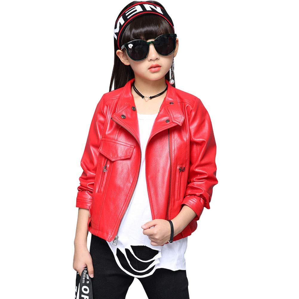 LAVIQK Girls Fashion PU Leather Motorcycle Jacket Childrens Outerwear Slim Coat 2-12 Years