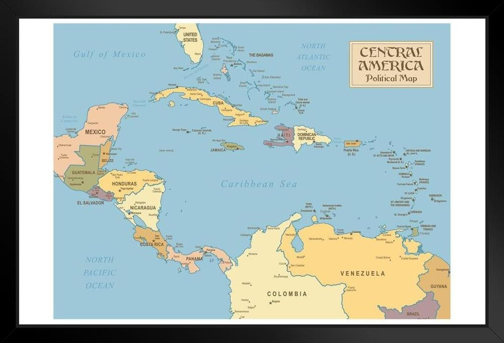 Central America Vintage Style Political Map Poster 36x24 inch