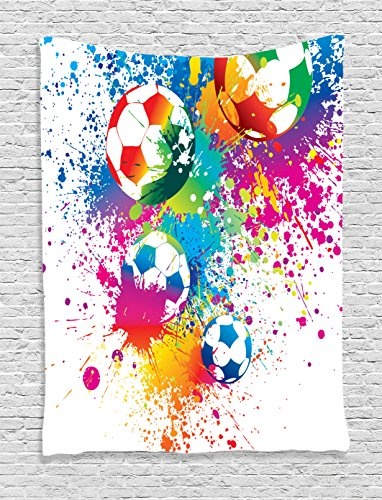 Ambesonne Soccer Tapestry, Colored Splashes All Over Soccer Balls Score World Cup Championship Athletic Artful, Wall Hanging for Bedroom Living Room Dorm, 40 W X 60 L Inches, Blue White ()