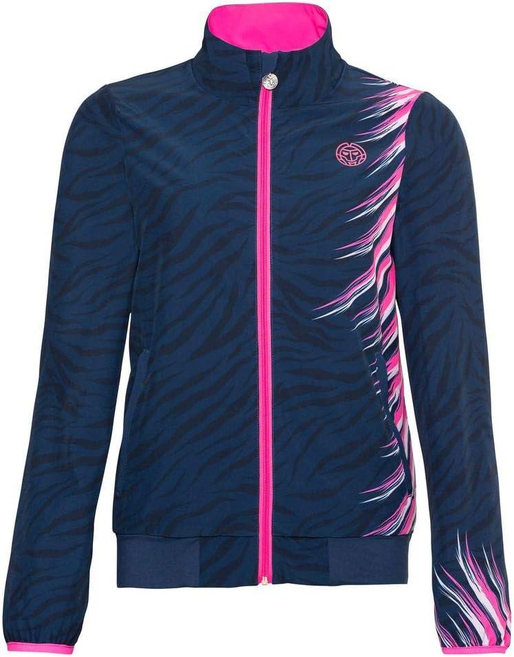 BIDI BADU Damen Jacke-Gene Tech Jacket-Dark Blue/Pink, GRÖßE:M Chaqueta Deportiva, Mujer, Azul y Rosa, Medium