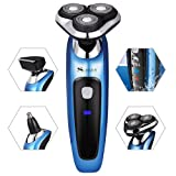 SURKER Electric Shaver Rotary Shaver Wet and Dry 3 in 1 with Nose Trimmer and Sidebums Razor Waterproof Blue