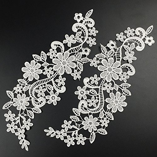 (USJee 1 Pair White Lace Flower Applique Patches Embroidery Sewing Craft Decoration)