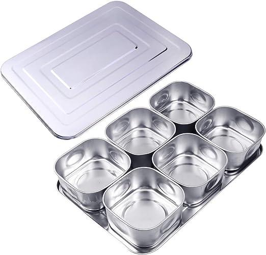 UPKOCH Compartimento Condimento Caja Acero inoxidable Frascos de especias separables Rectángulo con tapa: Amazon.es: Hogar