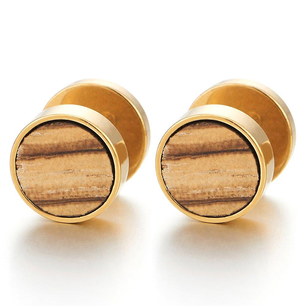 2 Or Cercle Boucles d'oreilles avec Bois Homme Femme - Bouchon Jauge Faux Cheater Fake Gauges Plugs - Acier 1 Paire COOLSTEELANDBEYOND ME-1281-EU