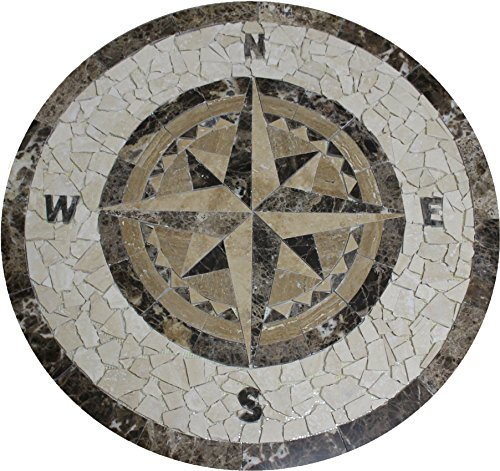 - Tile Floor Medallion Marble Mosaic Compass Star Design 36