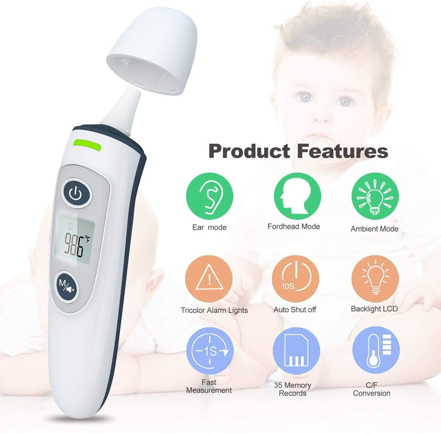 Baby Thermometer Ear Forehead Thermometer for Adult,Kid and Adult Thermometer,Digital Thermometer for Fever Ear and Forehead,35 Memory Recall Tricolor Fever Alarm