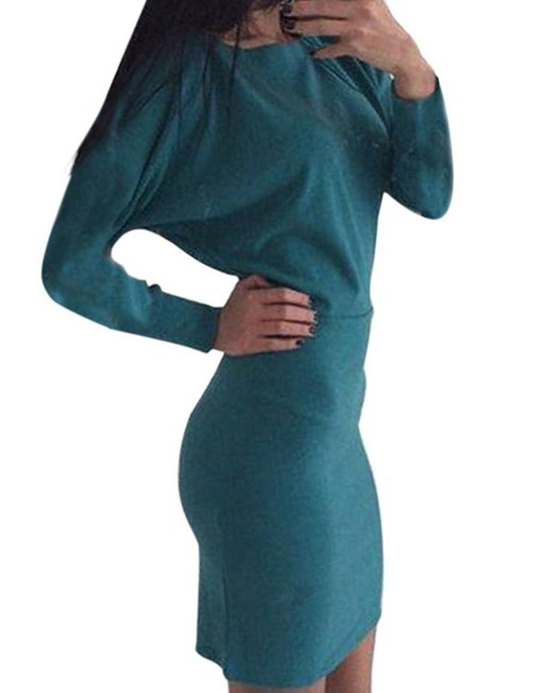 Eleganlife Women Off Shoulder Long Sleeve batwing Party Mini Dress