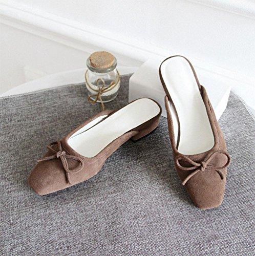 Sandalias Mujeres Grey Semi Los Verano Sra Baotou De Señoras Remolque Talones En Planos Las Zapatos América Zapatillas Planas Europa Y TITqxO1