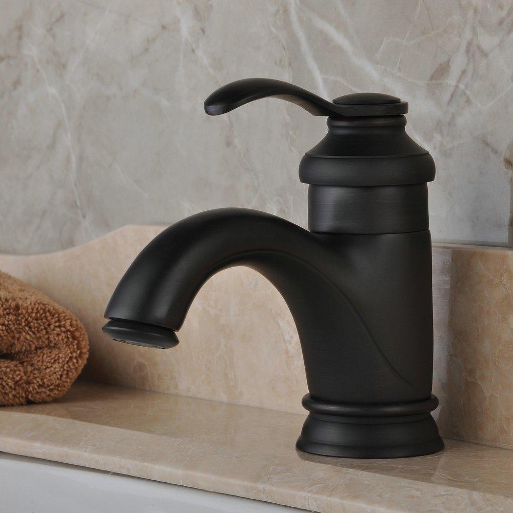 Hiendure Solid Brass Bathroom Vanity Sink Faucet Single Handle One ...