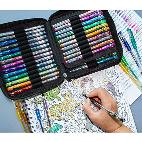 ColorIt 48 Glitter Gel Pens For Adult Coloring Books - New Glitter Colors Metallics Neons, Gel Pens with Case and 48 Matching Ink Refills For 96 Total Glitter Pack by ColorIt (Image #2)