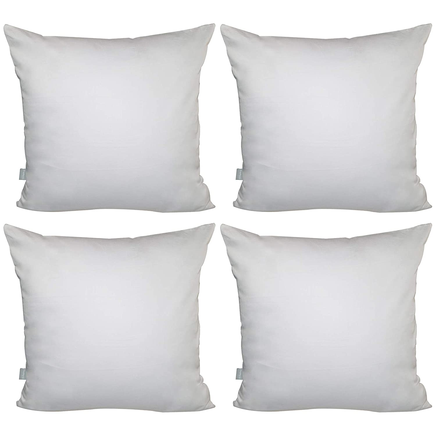 "4-Pack 100% Cotton Comfortable Solid Decorative Throw Pillow Case Square Cushion Cover Pillowcase 17.7"" x 17.7"" (Black) Thmyo"