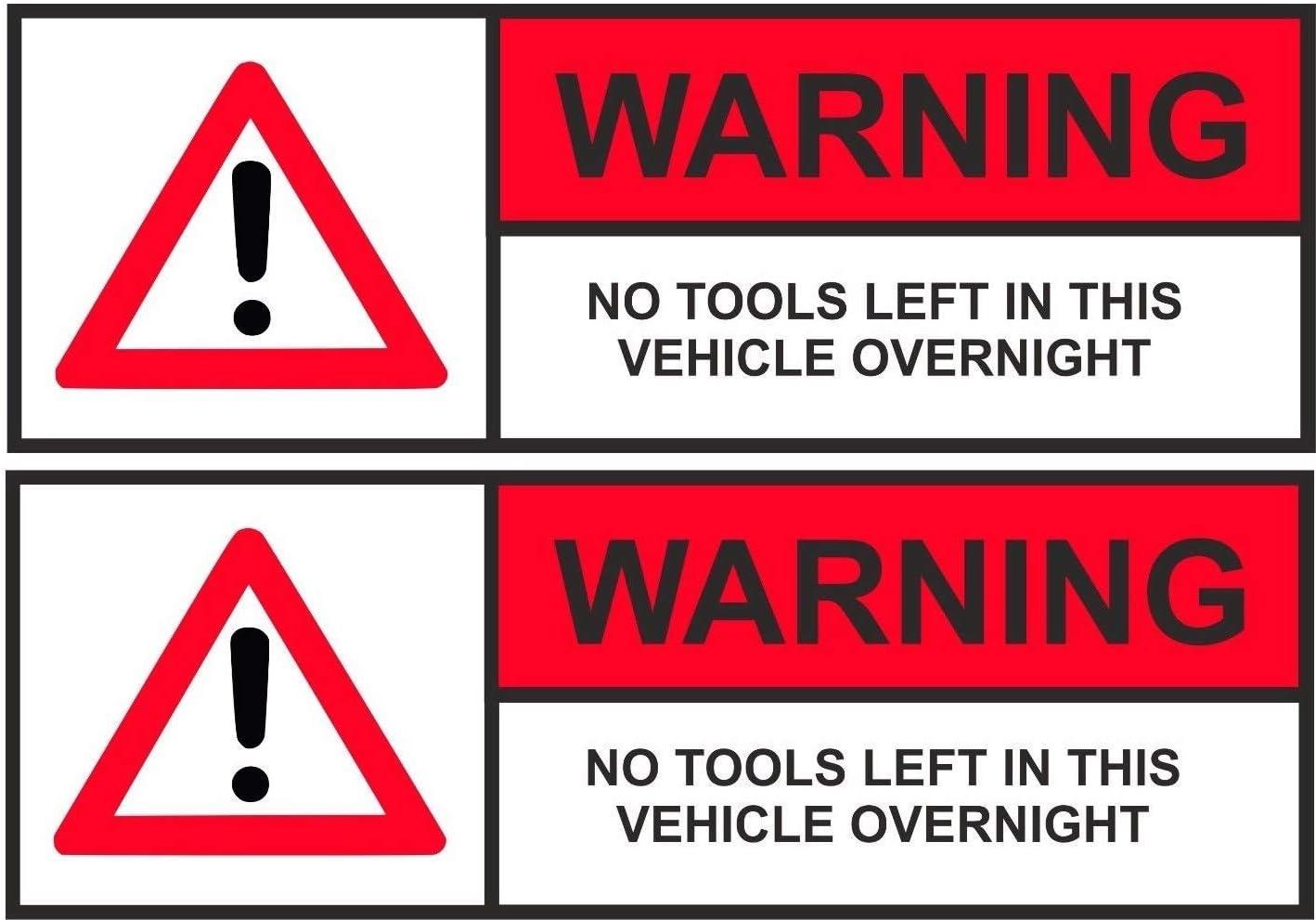 2PCS NO TOOLS ITEMS OF VALUE LEFT OVERNIGHT Sticker Vinyl Car Window Decor