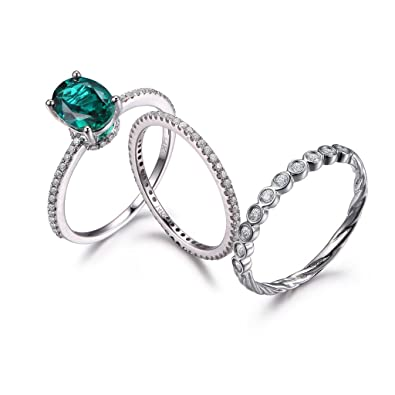 aaf19bdf157667 Amazon.com: MYRAYGEM-wedding ring sets 3pcs Emerald Wedding Set,7x9mm Oval  Green Gemstone Engagement Ring 14k White Gold Diamond Stackable Band:  MYRAYGEM: ...
