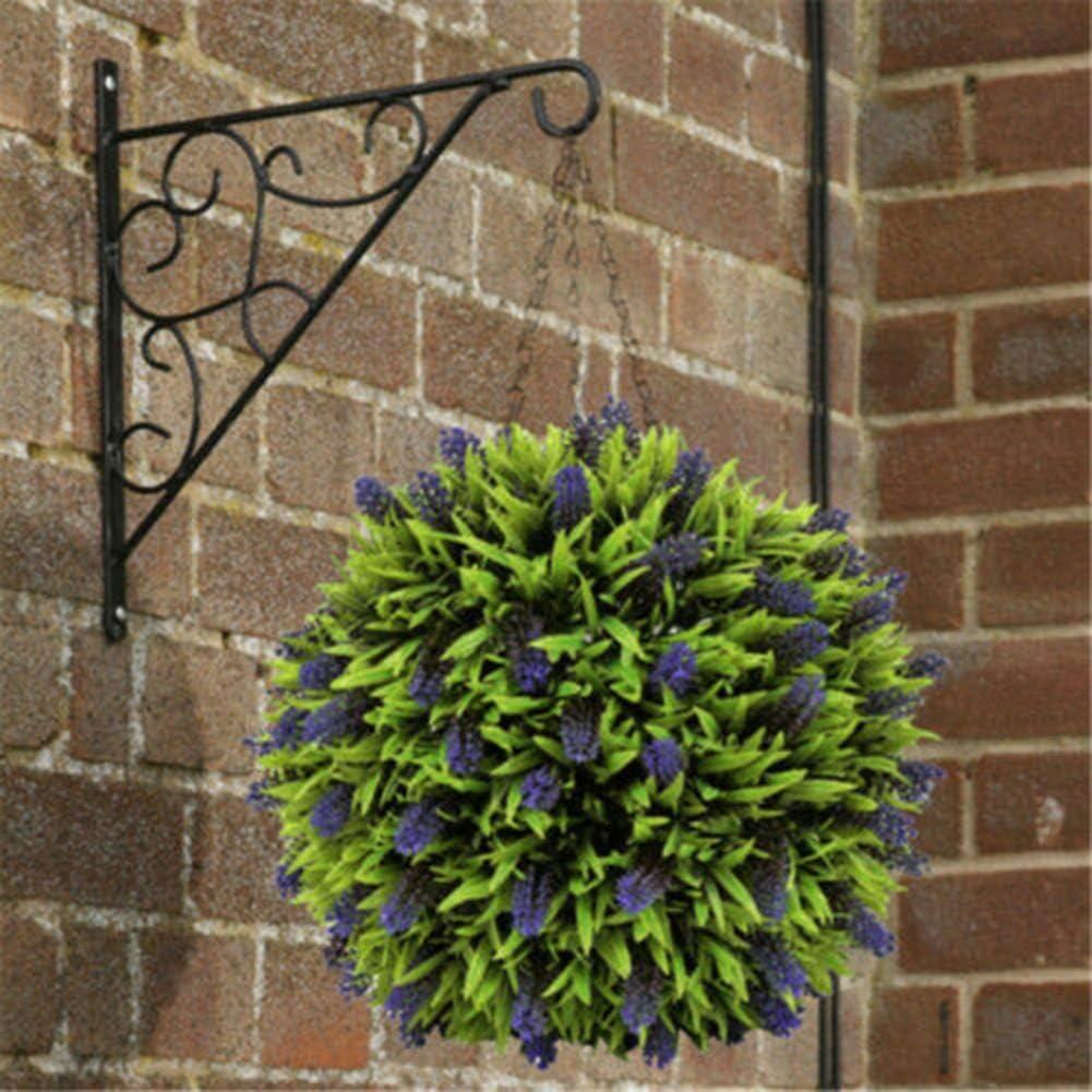 Artificial Lavender Lush Long Leaf Topiary Flower Ball Hanging Basket Plant DIY