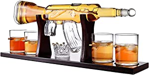 Whiskey Decanter Set, 800ML Elegant Rifle Whiskey Decanter with 4 Bullet Glasses And Pine Base, Lead Free High White Glass, for All Spirits Liquor - Perfect Gift
