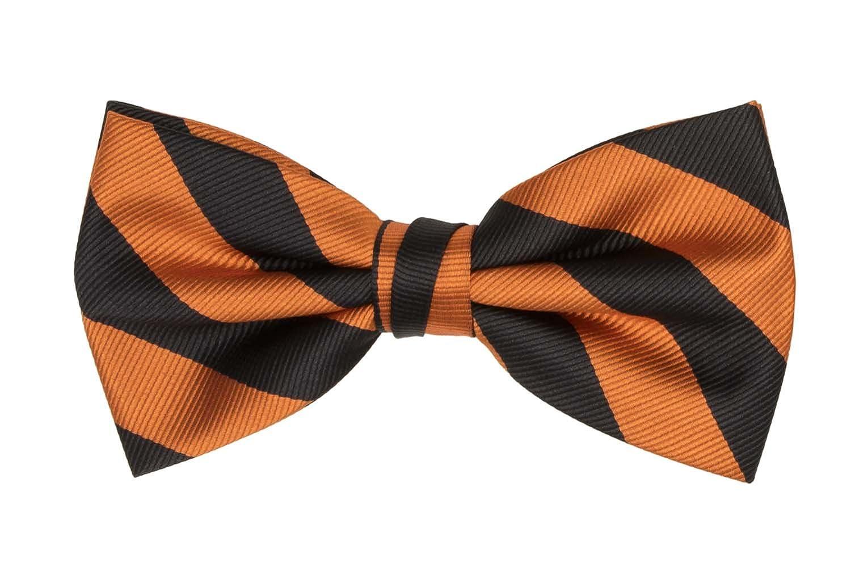 Jacob Alexander Matching College Stripe Suspenders and Bow Tie - Orange Black KIT055-003