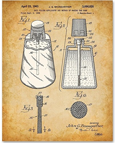 Nail Polish Applicator - 11x14 Unframed Patent Print - Great Gift for Bathroom ()