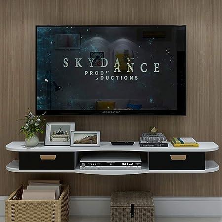 Estante Soporte para televisor montado en la pared Estante para gabinete de TV Estante para estante para rack Medios de entretenimiento Consola de juegos Estantería con 2 cajones Muebles para el hogar: