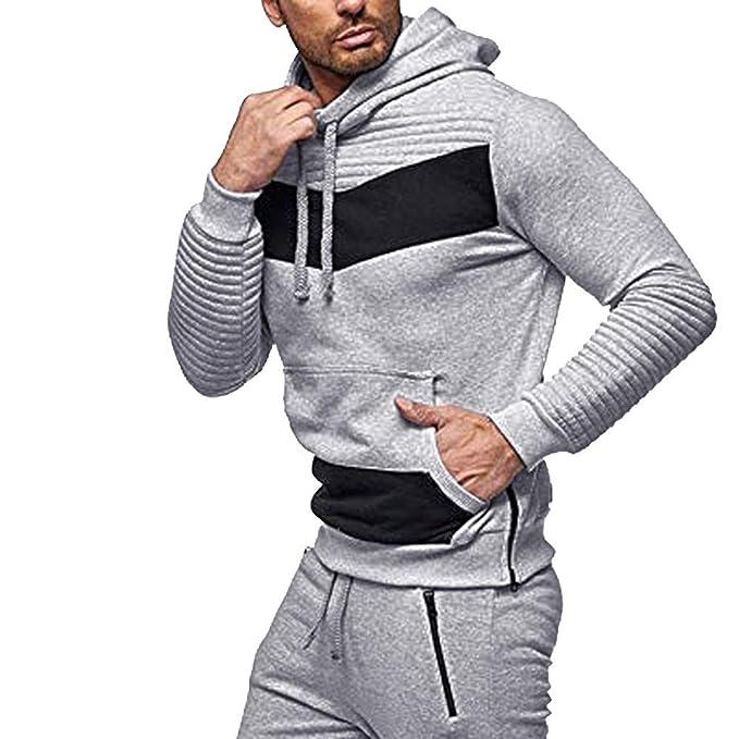 Overdose Blusa Hombres OtoñO Camisa Deporte Fitness Bolsillo Patchwork con Capucha Mejor Venta Abrigo Casual Tops