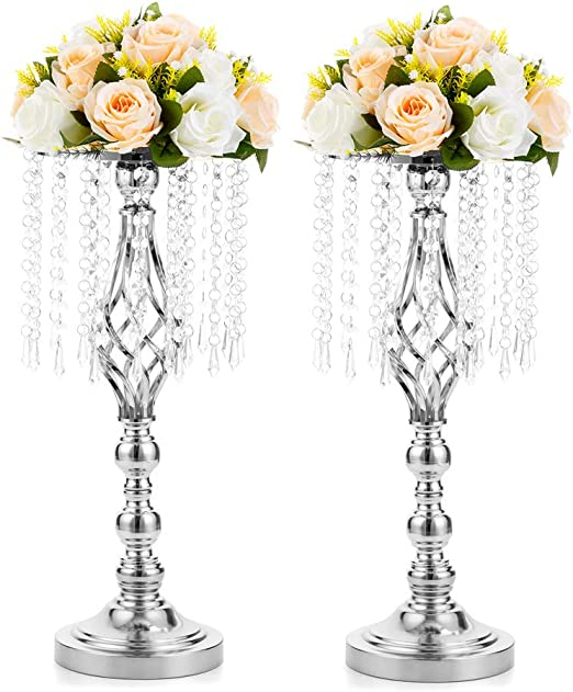 Amazon Com 2 Pcs 19 3 Inches Tall Crystal Flower Stand Wedding Road Lead Tall Flower Holders Centerpiece Crystal Flower Chandelier Metal Flower Vase For Reception Tables Wedding Supplies Home Kitchen