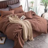 Embossing Bedding Sets Cotton-padded - MeMoreCool 100% Polyester Home Textiles Winter Autumn Warm Comfortable Quilt Cover and Flat Sheet Queen Coffee