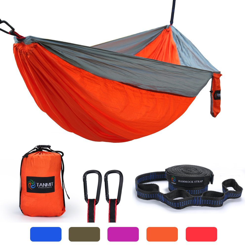 Camping Hammock, Lightweight Portable Garden Double Hammocks - Premium Nylon Parachute Hammock With Tree Straps For Backpacking Travel Beach Yard(5 Colors) TANMIT Double Camping Hammock TT-CH