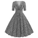 iHPH7 Woman West Pomegranate V-Neck Sleeve Houndstooth Print Vintage Tutu Dress
