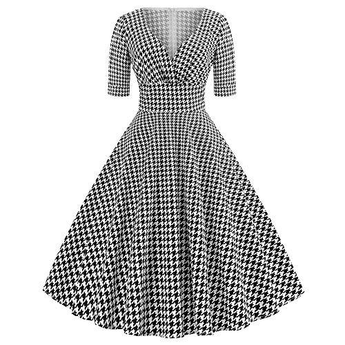 Euone ❀Dress, Woman West Pomegranate V-Neck Sleeve Houndstooth Print Vintage Tutu Dress 2XL