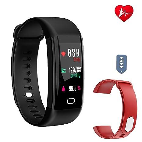Fitness Tracker, idoosmart presión de oxígeno en sangre pulsera de seguimiento de actividad Monitor de frecuencia ...