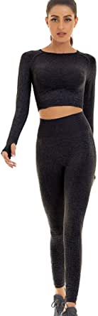 Toplook Women Seamless Workout Outfits Athletic Set Leggings + Long Sleeve Top