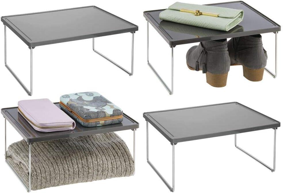 blanco Balda auxiliar de metal y pl/ástico para sumar espacio de almacenaje en los armarios Tambi/én /útil como organizador de armarios de cocina mDesign Juego de 2 estantes adicionales para ropa