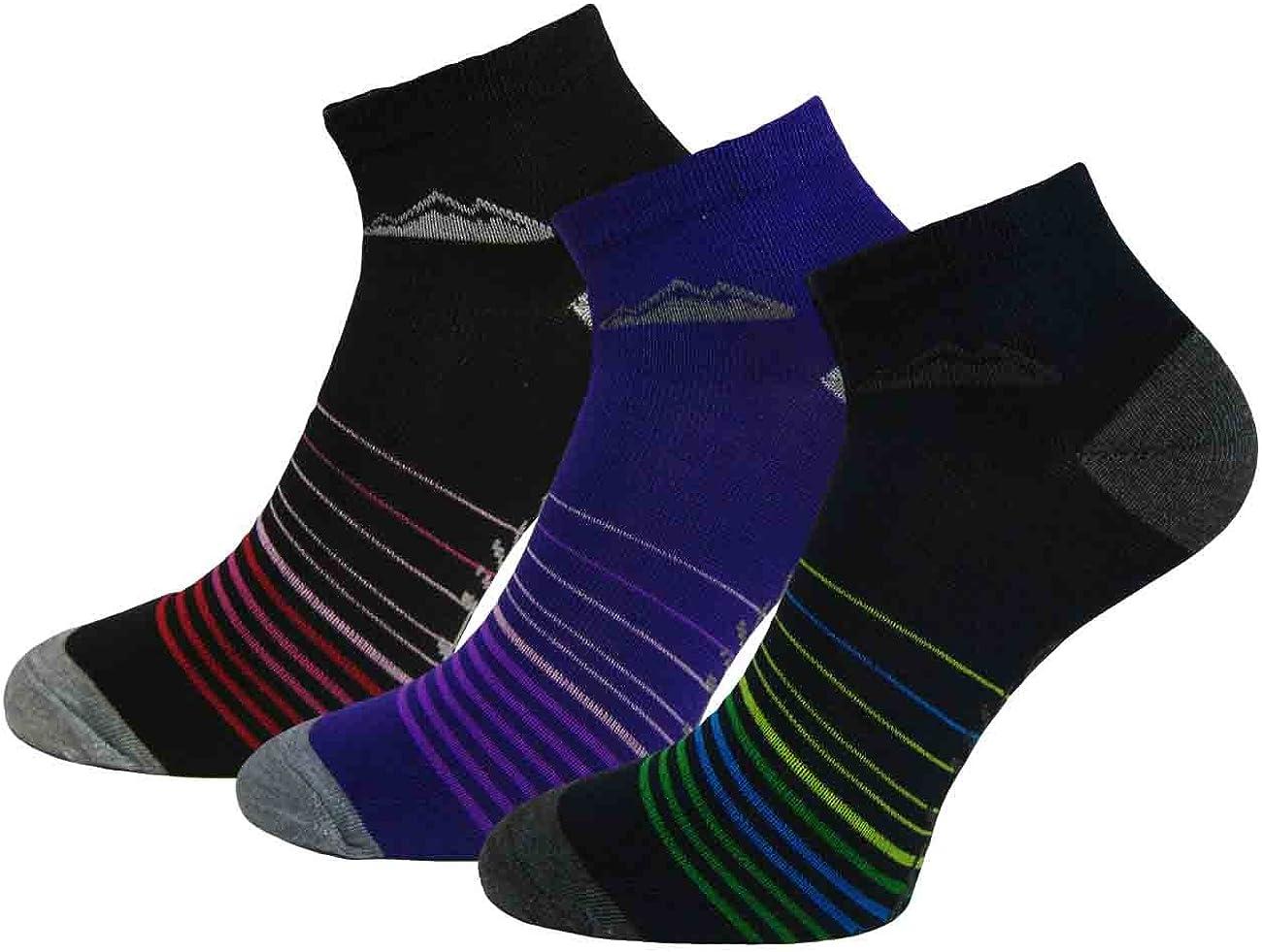 Size 4-8 3 Pairs Ladies Prohike Black Navy Purple Striped Cotton Trainer Socks