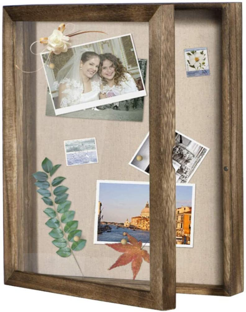 m·kvfa Shadow Box Display Cabinet Photo Frame and Linen Back Souvenir Photo Memory Box, Showcase Bottle Caps, Shells, Ticket Stubs, Airline Tickets (11 x 14 inches)