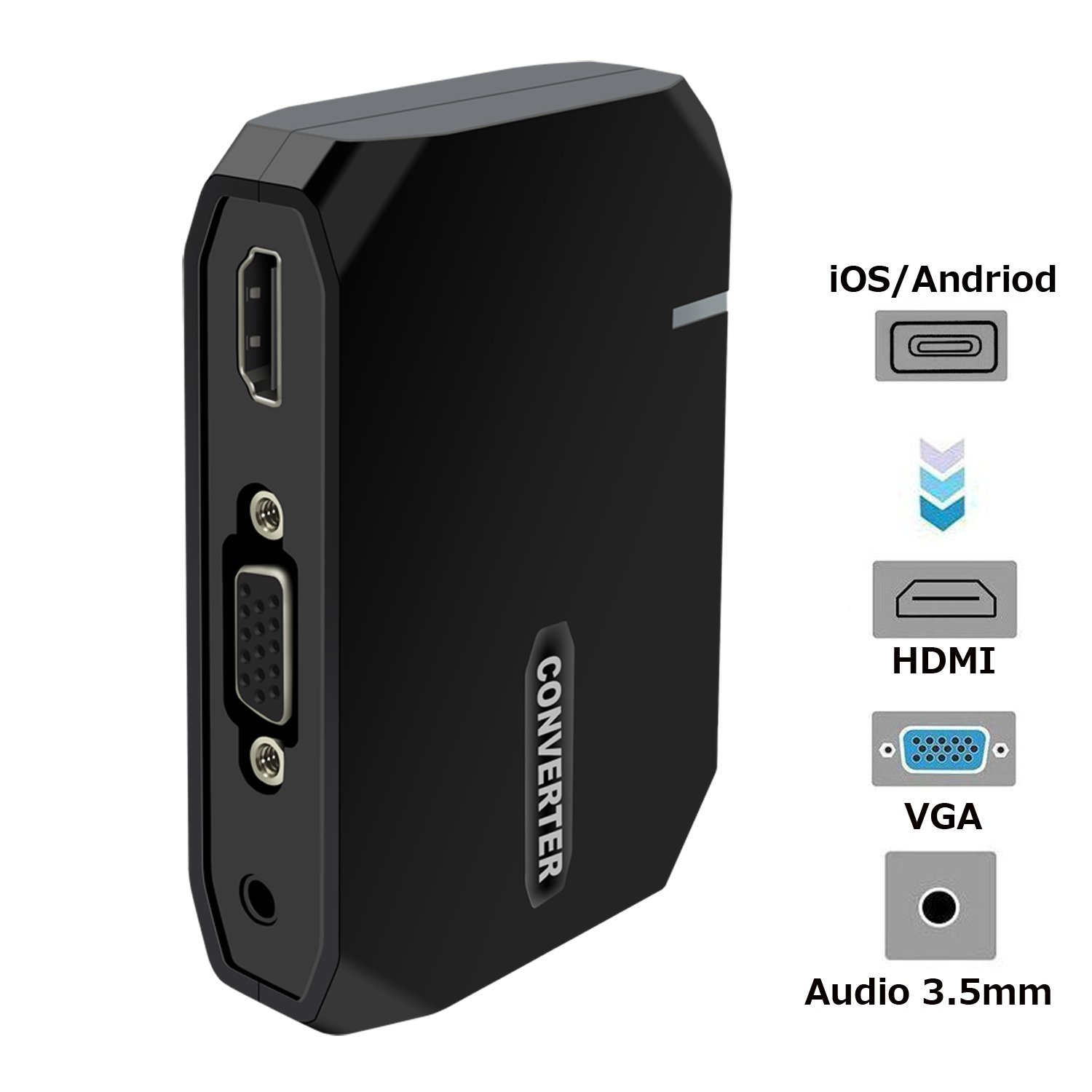 1AsAll 3 in 1 VGA Audio Video Multiport Digital AV Adapter, HDMI+VGA Display Dongle 1080P Sharing HD Video to TV/Projector/Monitor from iOS Devices and Android Cellphone- Black
