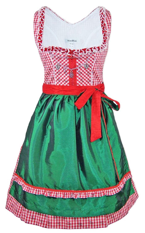 Mondkini Petticoat Dirndl Anita 2-tlg. - Rot Grün - Damen Trachten Kleid