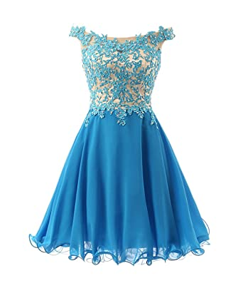 FNKS Women&-39-s Straps Lace Bodice Short Prom Gown Homecoming Party ...