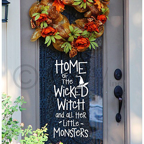 Halloween Home Of The Wicked Witch And All Her Little Monsters vinyl lettering decal home decor wall art sticker witch hat bats (White) -