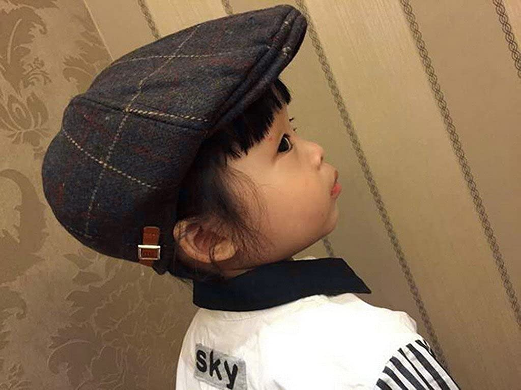 eba65a150969 Smile YKK Béret Bébé Garçon Fille Coton Casquette à Visière Automne Hiver  Motif Carreaux Marron Foncé  Amazon.fr  Vêtements et accessoires