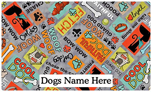 Drymate Pet Placemat, Dog Food Mat - Personalized Pet Food Mat - Personalized Placemats For Dogs (Made from Recycled Fibers, Machine Washable) - Cool Dog, Grey (Large - 16