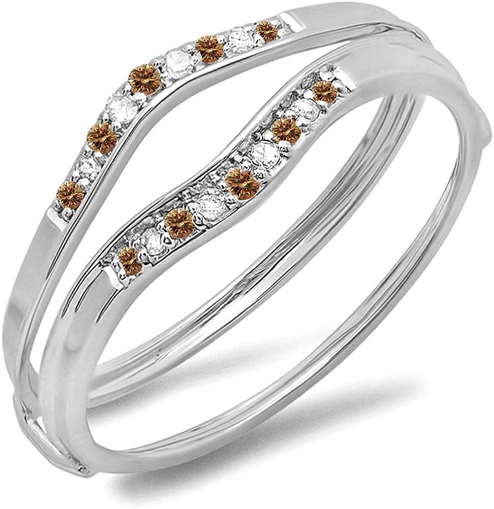 0.12 Carat (ctw) 10K Gold Round Champagne & White Diamond Ladies Anniversary Enhancer Guard Wedding Band