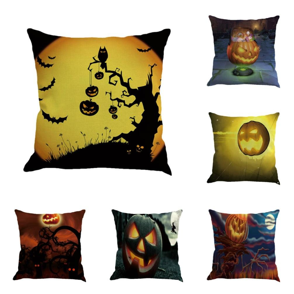 Gotd Vintage Halloween Pillow Covers Decorative Throw Pillow Case Cushion Pumpkin Happy Halloween Decor Clearance Indoor Outdoor Festive Party Supplies (Multicolor A)