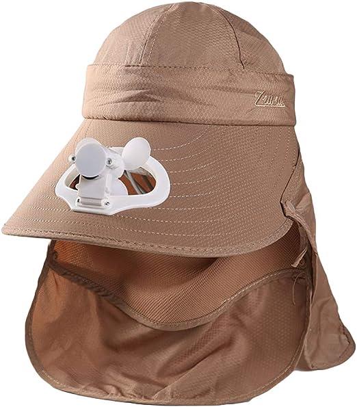Wosiky Sombrero con Ventilador, Gorra de protección Solar Ventilador de Aire Gorra de béisbol refrigerada Ventilador Ventilador de Carga Ventilador Tapa de Visera con Cara Cubierta del Cuello Abrigo: Amazon.es: Hogar
