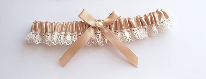 2ddf0c1df Amazon.com  Wedding Garter in Champagne and Ivory Lace