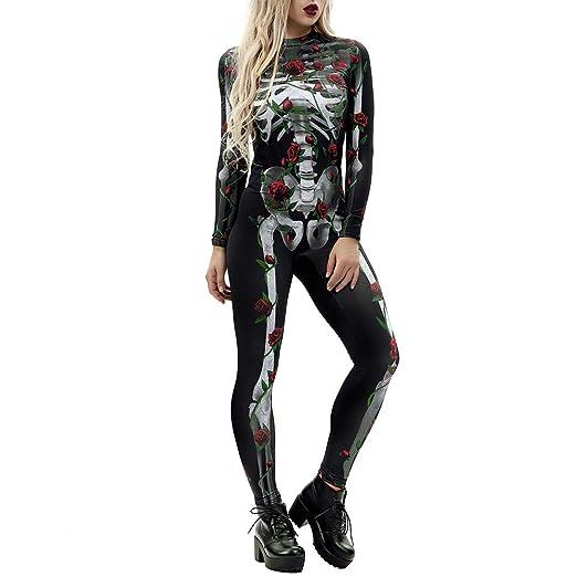 Womens Halloween Jumpsuit KpopBaby Sexy Bone Rose Print Sling Slim Playsuit Trouser Costumes