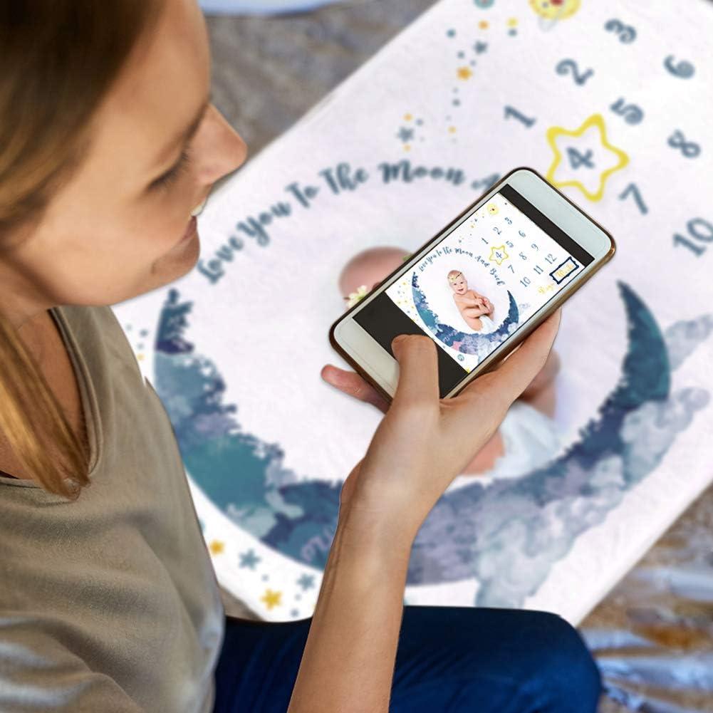 Dsaren Couverture Milestone B/éb/é Polaire Douce Couverture Mensuelle Photographie Background avec Cadre et Couronne de Fleurs pour Nouveau-n/é Gar/çon Fille Cadeau Baby Shower Lune