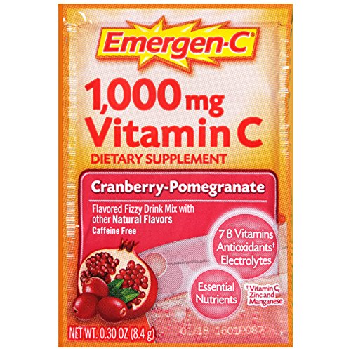 076314301935 - Emergen-C Dietary Supplement Drink Mix with 1000 mg Vitamin C, 0.30 Ounce Packets, Caffeine Free (Cranberry-Pomegranate Flavor, 30 Count) carousel main 4